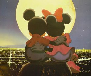 love, mickey, and moon image