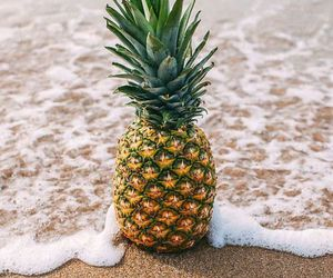 background, beach, and pineapple image