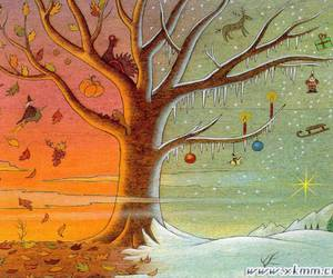autumn, trees, and christmas image