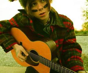 acoustic, hat, and plaid image