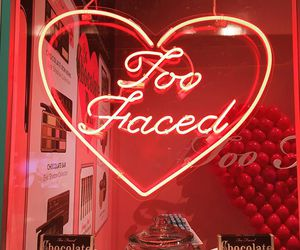 red, neon, and too faced image