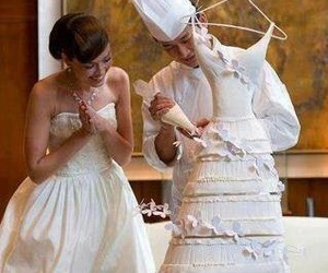 cake, wedding, and dress image