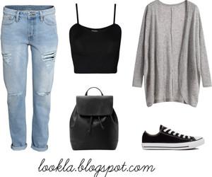 boyfriend jeans, jeans, and converse image