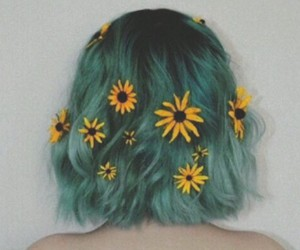 blue, blue hair, and flowers image