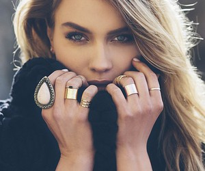 hair, rings, and blonde image