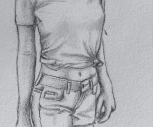drawing, girl, and pencil image