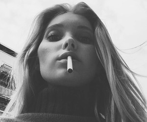 model, black and white, and smoke image