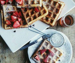 desserts, strawberry, and waffles image