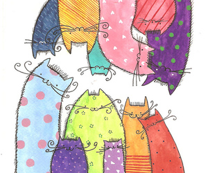 cat, kittens, and pattern image