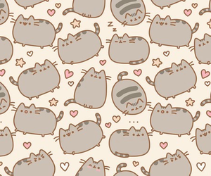 cat, pusheen, and background image