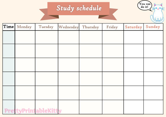 photograph about Printable Study Schedule referred to as Printable analysis plan shared by means of denisse upon We Middle It