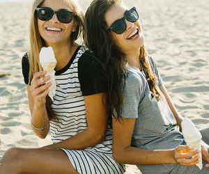 beach, friends, and ice cream image