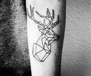 tattoo, deer, and geometric image