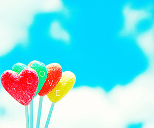 love, heart, and lollipop image