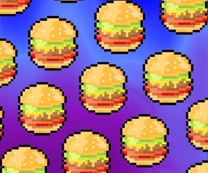 background, burger, and colors image
