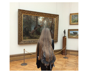 girl, long hair, and museum image