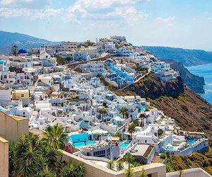 beach, city, and Greece image