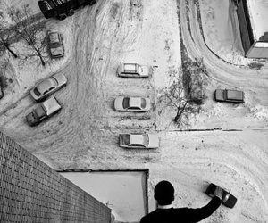 car, black and white, and snow image