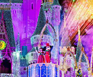 disney land, lights, and mickey mouse image