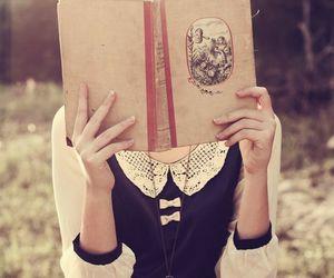 book, reading, and bun image