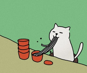 cat, illustration, and noodles image