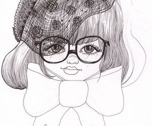 bow, glasses, and drawing image