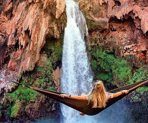 waterfall, nature, and girl image