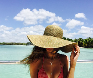 beach, brunette, and hat image