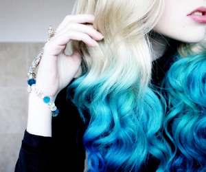 blonde, girl, and blue image