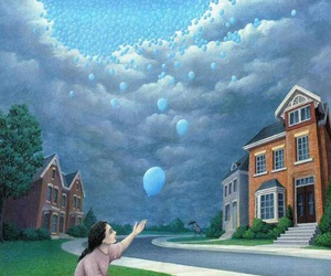 art, sky, and balloons image