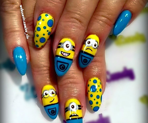 blue nails, nail art, and style image