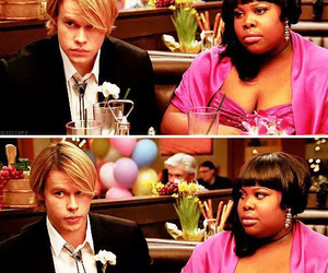glee, mercedes jones, and sam evans image