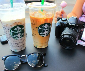 starbucks, camera, and drink image