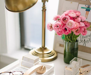 flowers, desk, and home image