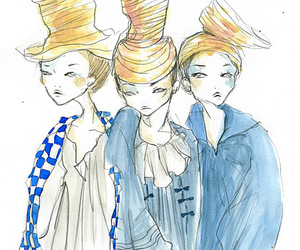 drawing, girls, and ladies image