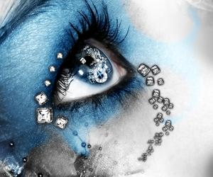 art, background, and blue eyes image