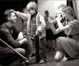 black and white, child, and couple image