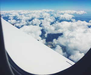 blue, clouds, and plane image