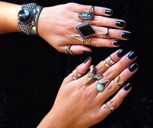 black, jewerly, and nails image