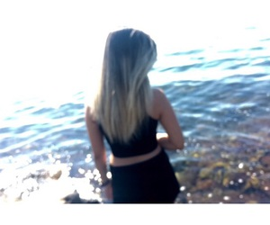 black, outfit, and sea image