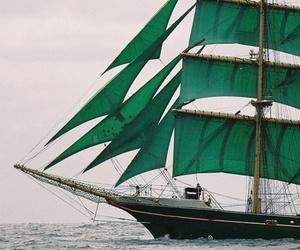 sea, ship, and green image