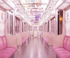 japan, pink, and train image