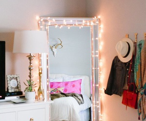light, bedroom, and mirror image