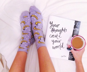 banana, book, and girl image