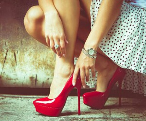 red, love shoes, and shoes image