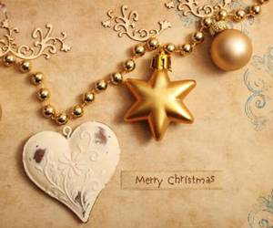 christmas, gold, and heart image