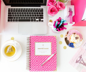 pink, desk, and school image