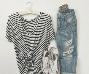 boyfriend jeans, converse, and outfit image