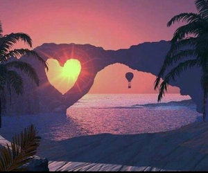 heart, sunset, and sun image