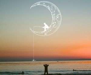 moon, sunset, and beach image
